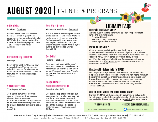 August 2020 Events & Programs Calendar Descriptions
