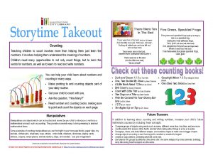 Counting Storytime Takeout