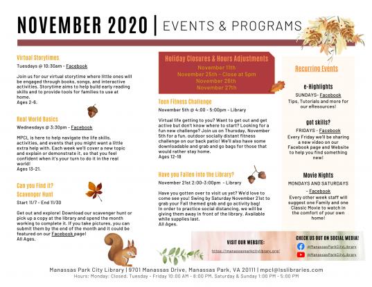 November 2020 Events & Programs Descriptions - English