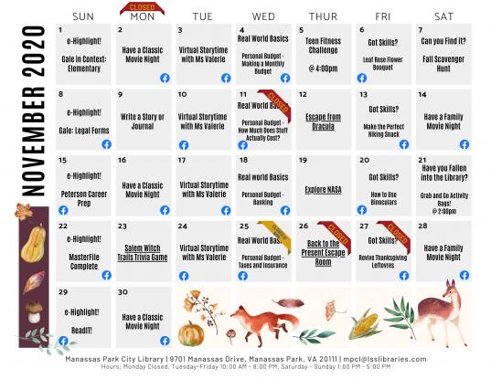 November 2020 Events & Programs Calendar - English