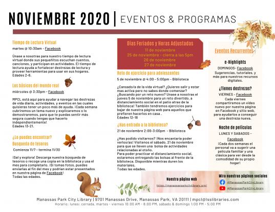 November 2020 Events & Programs Descriptions - Espanol
