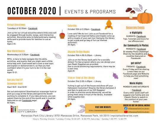 October 2020 Events & Programs Calendar Descriptions