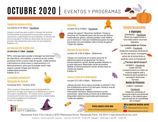 October 2020 Events & Programs Calendar Descriptions - Espanol