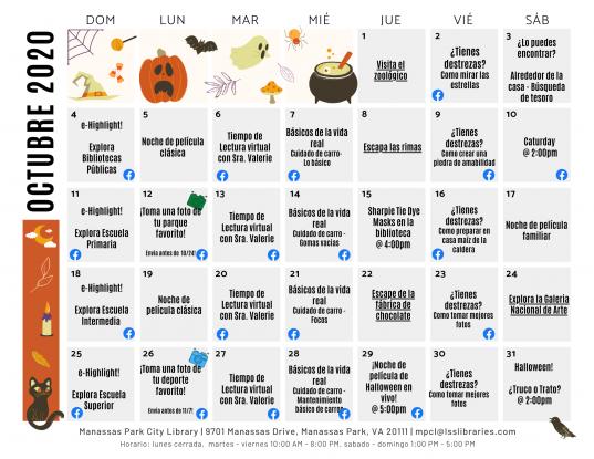 October 2020 Events & Programs Calendar - Espanol