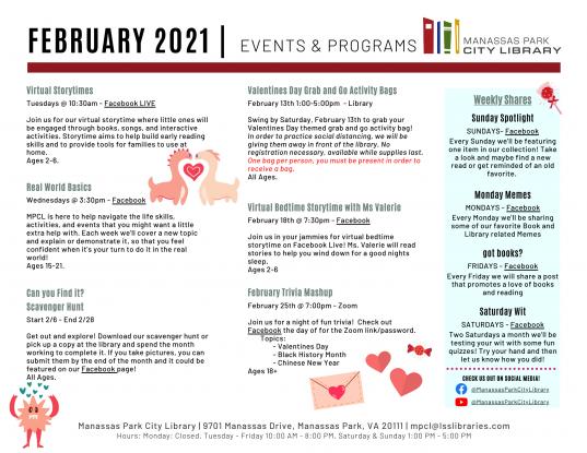 February 2021 Events & Programs Calendar