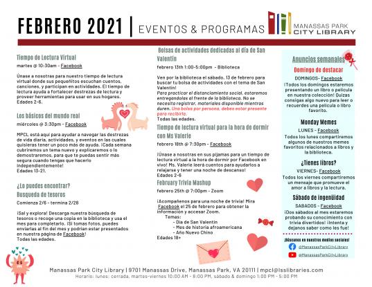 February 2021 Events & Programs Calendar Descriptions - Spanish