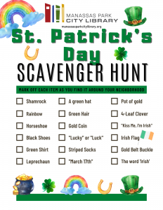 St. Patrick's Day Scavenger Hunt - English