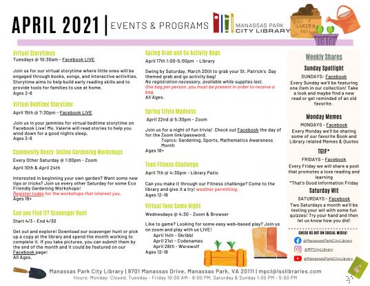 April 2021 Events & Programs Calendar Descriptions - English