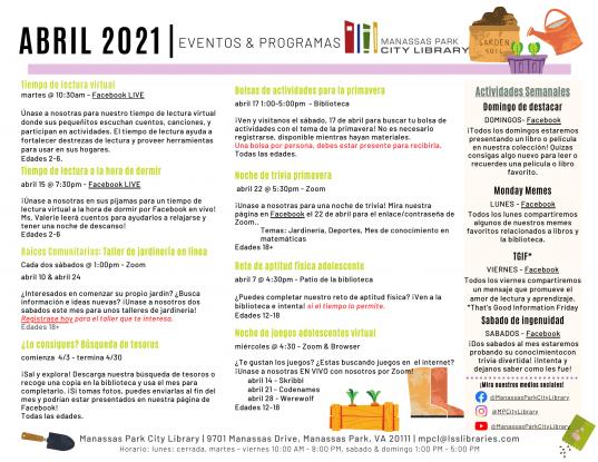 April 2021 Events & Programs Calendar Descriptions - Español
