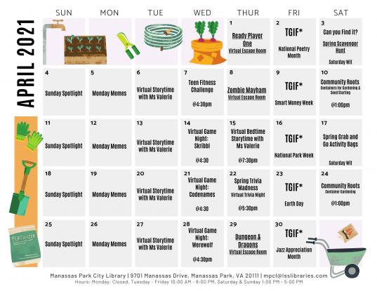 April 2021 Events & Programs Calendar - English