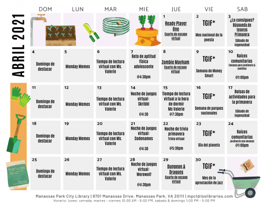 April 2021 Events & Programs Calendar - Español