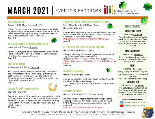 March 2021 Events & Programs Calendar Descriptions