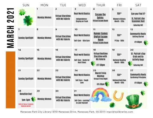 March 2021 Events & Programs Calendar