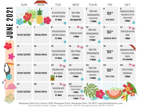 June 2021 Library Events Calendar