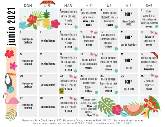 June 2021 Library Events Calendar - ES