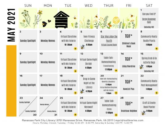 May 2021 Library Events Calendar - EN