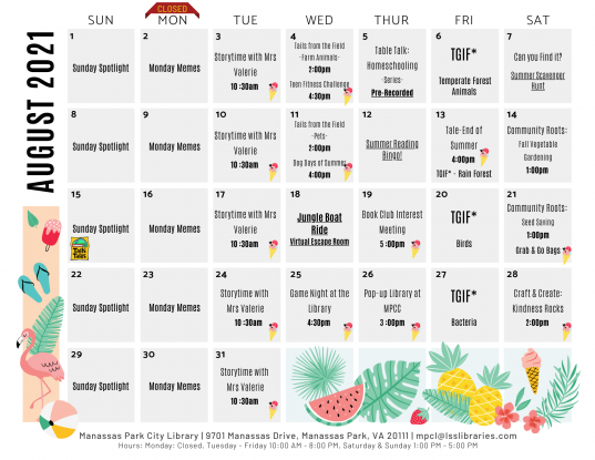 August 2021 Library Events Calendar - EN