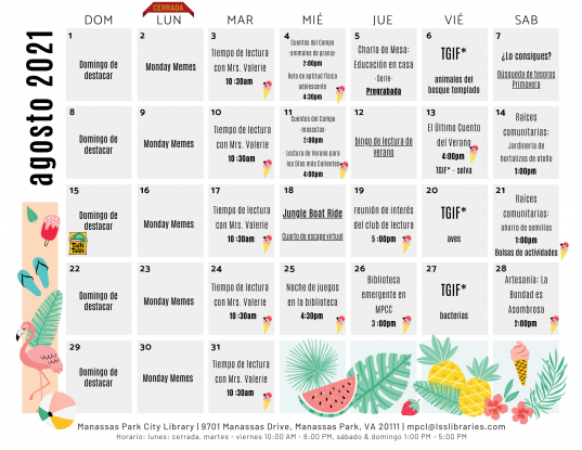 August 2021 Library Events Calendar - ES