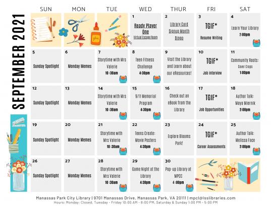 September 2021 Library Events Calendar - EN